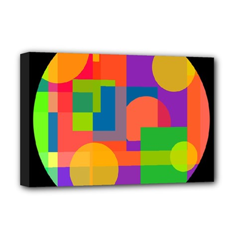 Colorful Circle  Deluxe Canvas 18  X 12   by Valentinaart