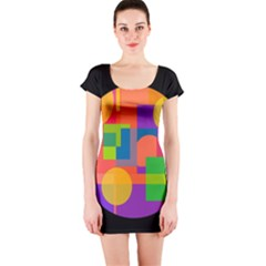 Colorful Circle  Short Sleeve Bodycon Dress