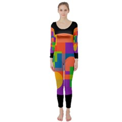 Colorful Circle  Long Sleeve Catsuit by Valentinaart