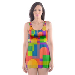 Colorful Circle  Skater Dress Swimsuit by Valentinaart