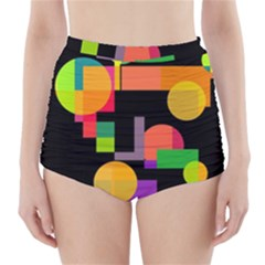 Colorful Abstraction High-waisted Bikini Bottoms by Valentinaart