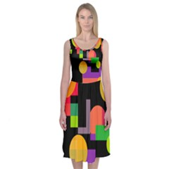 Colorful Abstraction Midi Sleeveless Dress by Valentinaart