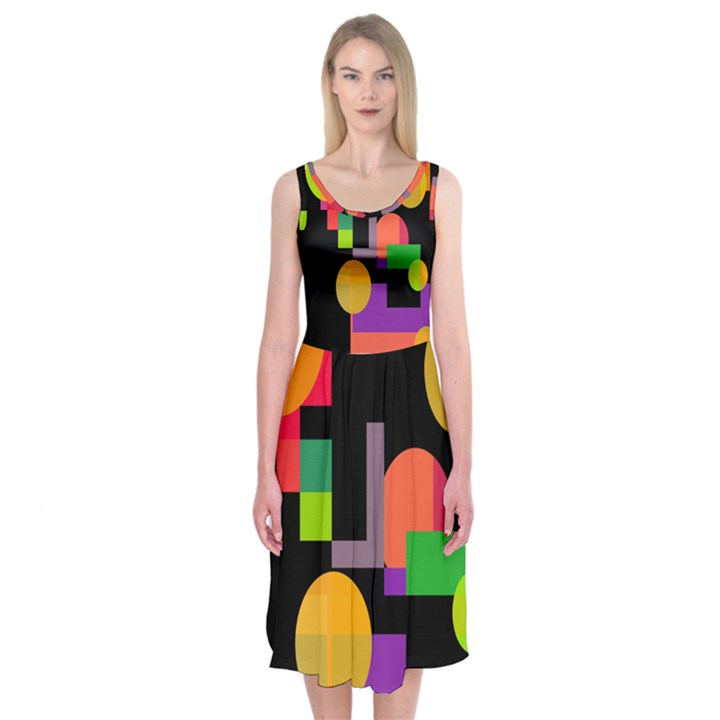 Colorful abstraction Midi Sleeveless Dress