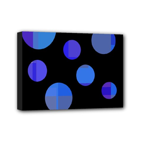 Blue Circles  Mini Canvas 7  X 5