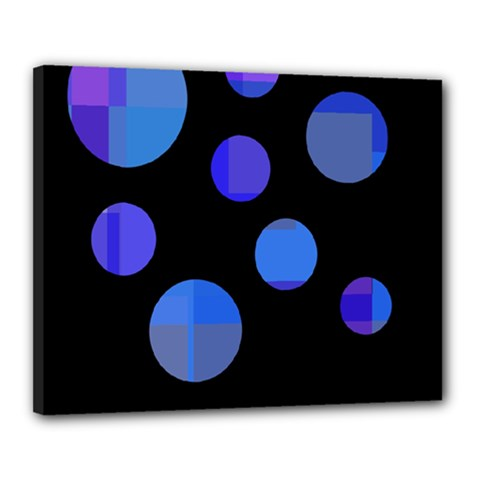 Blue Circles  Canvas 20  X 16  by Valentinaart