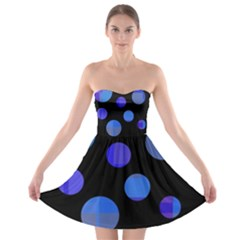 Blue Circles  Strapless Dresses by Valentinaart