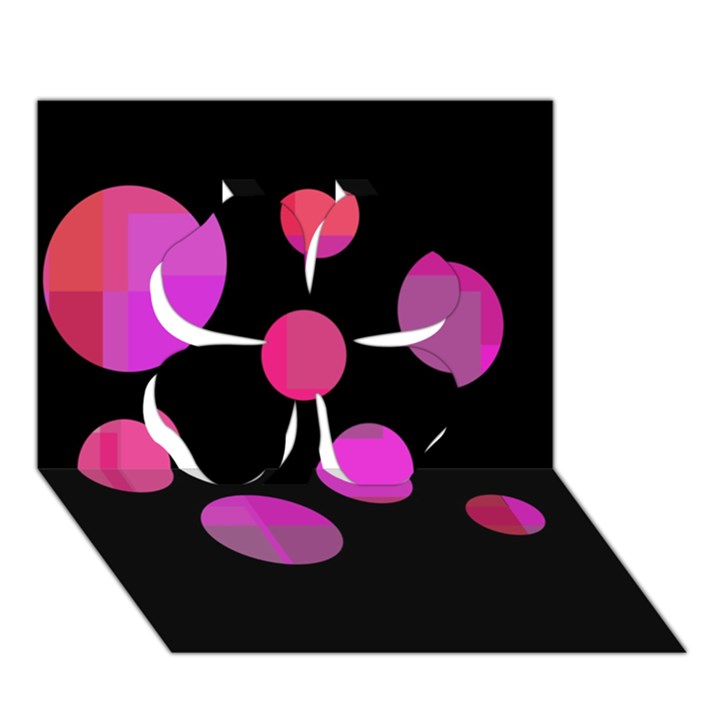 Pink abstraction Clover 3D Greeting Card (7x5)