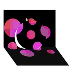 Pink Abstraction Circle 3d Greeting Card (7x5)  by Valentinaart