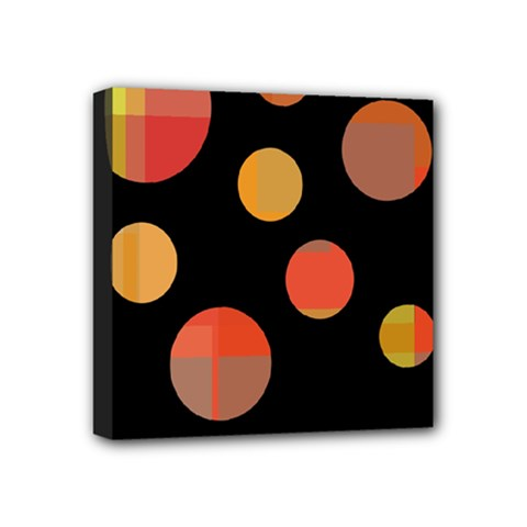 Orange Abstraction Mini Canvas 4  X 4  by Valentinaart