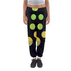 Green Abstract Circles Women s Jogger Sweatpants by Valentinaart