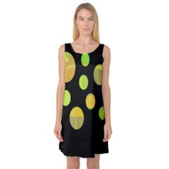 Green Abstract Circles Sleeveless Satin Nightdress by Valentinaart