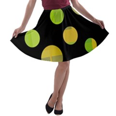 Green Abstract Circles A-line Skater Skirt by Valentinaart