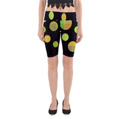 Green Abstract Circles Yoga Cropped Leggings by Valentinaart
