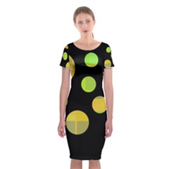 Green Abstract Circles Classic Short Sleeve Midi Dress by Valentinaart