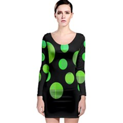 Green Circles Long Sleeve Bodycon Dress by Valentinaart