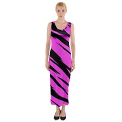Pink Tiger Fitted Maxi Dress by ArtistRoseanneJones