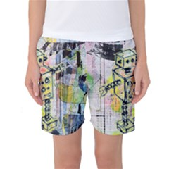 Graffiti Graphic Robot Women s Basketball Shorts by ArtistRoseanneJones