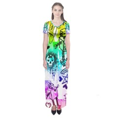 Rainbow Scene Kid Sketches Short Sleeve Maxi Dress by ArtistRoseanneJones