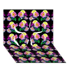 Rosa Yellow Roses Pattern On Black Clover 3d Greeting Card (7x5)  by Costasonlineshop