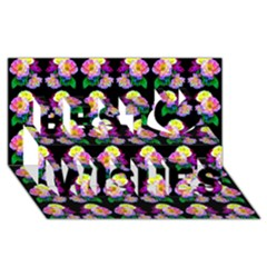 Rosa Yellow Roses Pattern On Black Best Wish 3d Greeting Card (8x4)  by Costasonlineshop