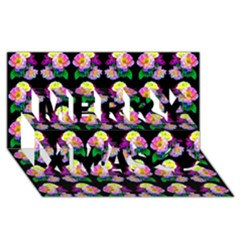 Rosa Yellow Roses Pattern On Black Merry Xmas 3d Greeting Card (8x4)