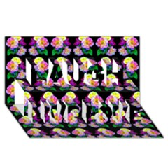 Rosa Yellow Roses Pattern On Black Laugh Live Love 3d Greeting Card (8x4)  by Costasonlineshop