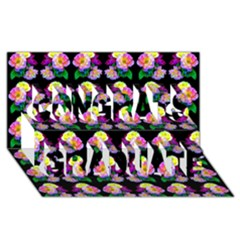 Rosa Yellow Roses Pattern On Black Congrats Graduate 3d Greeting Card (8x4)  by Costasonlineshop