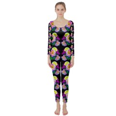 Rosa Yellow Roses Pattern On Black Long Sleeve Catsuit by Costasonlineshop