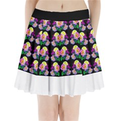 Rosa Yellow Roses Pattern On Black Pleated Mini Mesh Skirt by Costasonlineshop