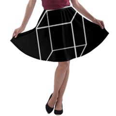 Simple Cube A-line Skater Skirt by Valentinaart