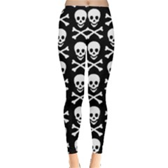 Skull And Crossbones Pattern Leggings  by ArtistRoseanneJones