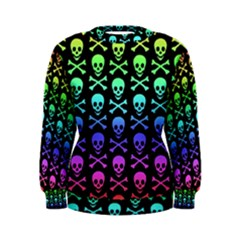 Rainbow Skull And Crossbones Pattern Women s Sweatshirt by ArtistRoseanneJones