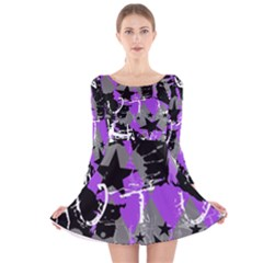 Purple Scene Kid Long Sleeve Velvet Skater Dress