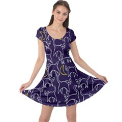 Cat And Moons For Halloween  Cap Sleeve Dresses by BubbSnugg