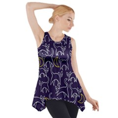 Cat And Moons For Halloween  Side Drop Tank Tunic by BubbSnugg