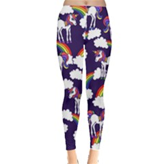 Retro Rainbows And Unicorns Leggings  by BubbSnugg
