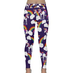 Retro Rainbows And Unicorns Yoga Leggings by BubbSnugg
