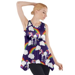 Retro Rainbows And Unicorns Side Drop Tank Tunic by BubbSnugg