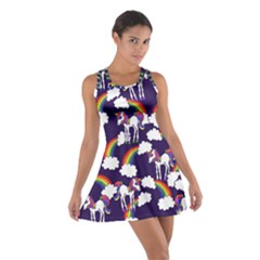 Retro Rainbows And Unicorns Racerback Dresses by BubbSnugg