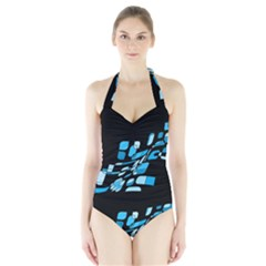 Blue Abstraction Halter Swimsuit by Valentinaart