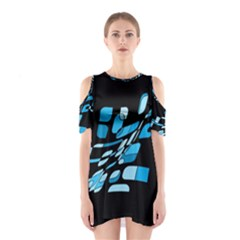 Blue Abstraction Cutout Shoulder Dress by Valentinaart