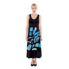 Blue Abstraction Sleeveless Maxi Dress by Valentinaart