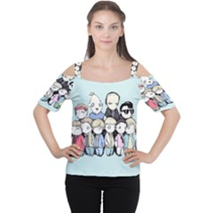 Goonies Vs Monster Squad Women s Cutout Shoulder Tee