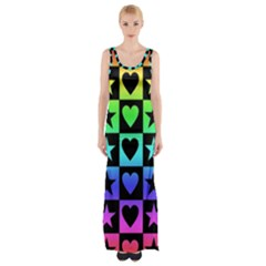 Rainbow Stars And Hearts Maxi Thigh Split Dress by ArtistRoseanneJones
