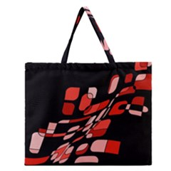 Orange Abstraction Zipper Large Tote Bag by Valentinaart