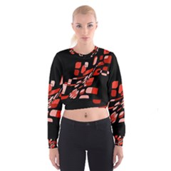 Orange Abstraction Women s Cropped Sweatshirt
