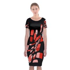 Orange Abstraction Classic Short Sleeve Midi Dress by Valentinaart