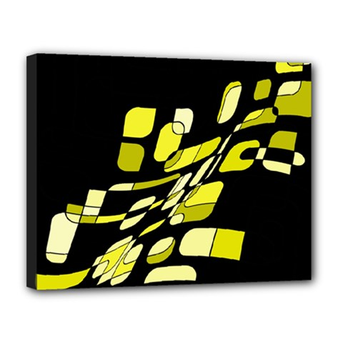 Yellow Abstraction Canvas 14  X 11  by Valentinaart