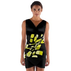 Yellow Abstraction Wrap Front Bodycon Dress by Valentinaart