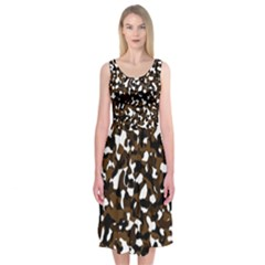Black Brown And White Camo Streaks Midi Sleeveless Dress